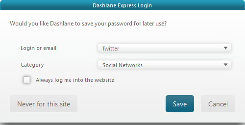 Save generated password in Dashlane